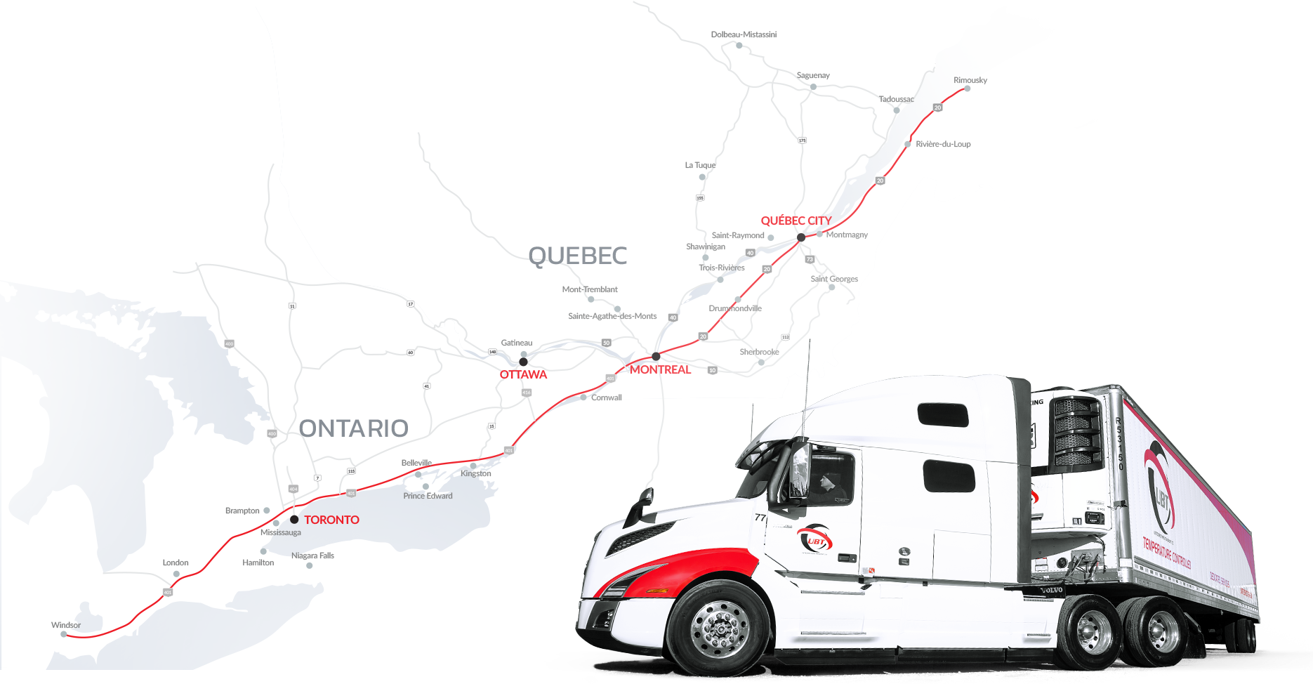 United Brothers Transport service map
